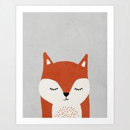 Fox - Mid century modern kids art - Children's art - Kids decor - Nursery room Art Print