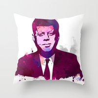 jfk Throw Pillows featuring JFK by BIG Colours