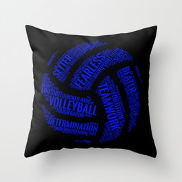 Blue Volleyball Wordcloud - Gift Throw Pillow