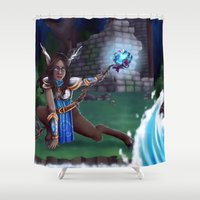 arya Shower Curtains featuring Guardian of The Forest by Sara Poveda