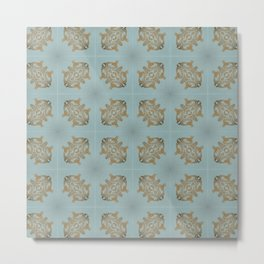 Soft Teal Blue & Gold No. 6 Metal Print