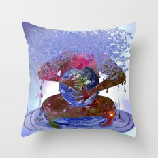 Mother Earth is Melting Throw Pillow