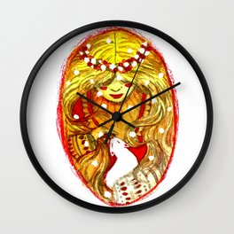 blonde witch with a cat Wall Clock