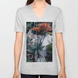 Succulent Garden Coral Orange and Green Unisex V-Neck