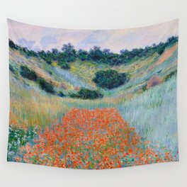 Poppy Field in a Hollow near Giverny Claude Monet Wall Tapestry