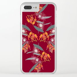 2941 Eucalyptus4-Red-Dark Clear iPhone Case