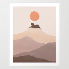 Good Morning Meow 6 - Join Landscape Mountain print  Art Print