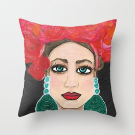 Rosie Life of the Party Original Senorita Portrait Painting Throw Pillow