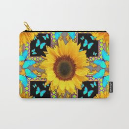 Southwest Sunflowers & Turquoise Butterflies Grey Art Carry-All Pouch