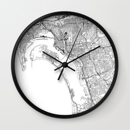 San Diego White Map Wall Clock