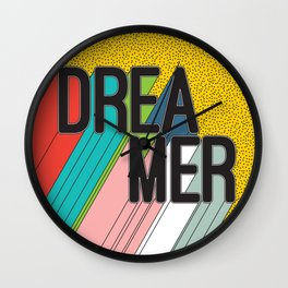 Dreamer Typography Color Poster Dream Imagine Wall Clock