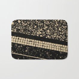 Terrazzo Pattern Black & Gold Sepia #1 #texture #decor #art #society6 Bath Mat