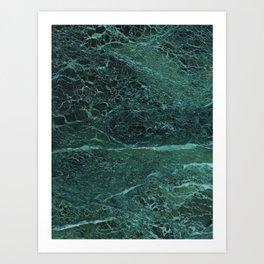 Dark Green Marble Texture Art Print