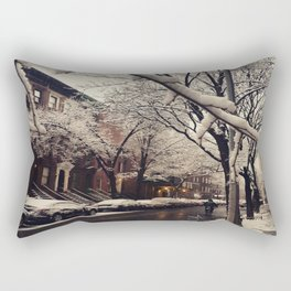 Photo of the beautiful Brooklyn Heights covered in icy snow Rectangular Pillow