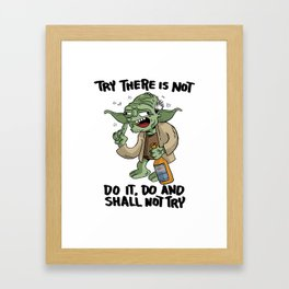 Drunk Master Yoda Framed Art Print