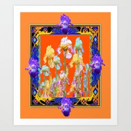 Ornate Cumin Color Purple Iris garden Design Art Print
