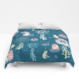 baby animals' reunion Comforters
