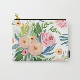 Elegant Roses Coral Pink + Green Carry-All Pouch