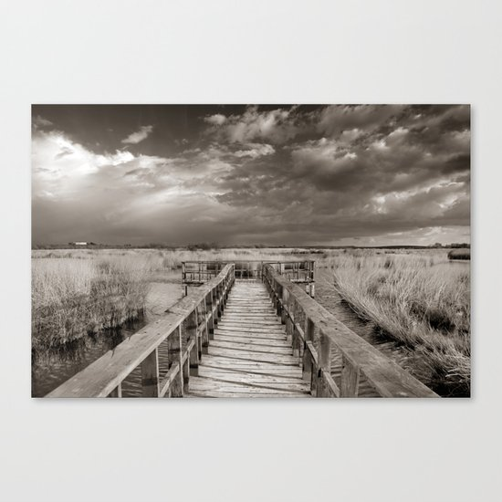 Stormy weather at the lake. Vintage Canvas Print