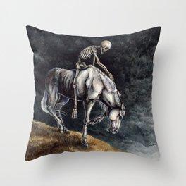Skeleton Riding a Pale Horse Throw Pillow