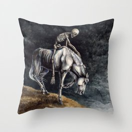 Skeleton Riding a Pale Horse Throw Pillow