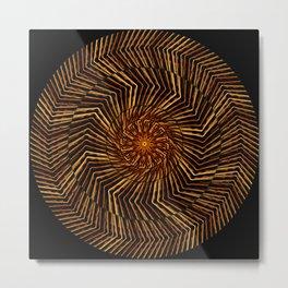 Wood Disk Mandala Metal Print