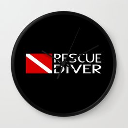 Diver Down Flag: Rescue Diver Wall Clock