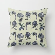 Botanical Florals | Vintage Dark Blue Throw Pillow