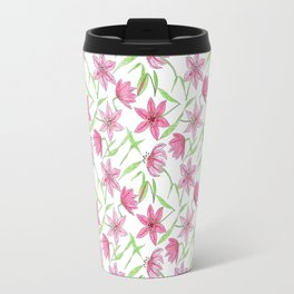 Watercolor sketched lily flowers seamless pattern Travel Mug