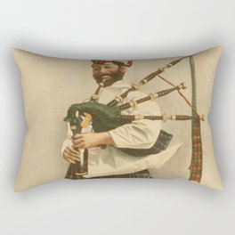 Vintage Illustration of a Scottish Bagpiper (1898) Rectangular Pillow