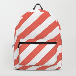 cute girly spring apricot peach coral pink white stripes  Backpack