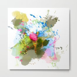Vibrant painted thistle on white Metal Print