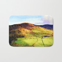 Looking Down to Buttermere Valley, Lake District, UK.  Watercolor Painting Bath Mat