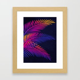 Neon Leaves Framed Art Print