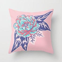 Cabbage Rose Tattoo Flash Throw Pillow