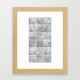 Cafe sketches by David A Sutton. 18 piece vertical. sketchbookexplorer.com Framed Art Print