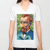 van gogh V-neck T-shirts featuring Van Gogh by Esteban del Valle