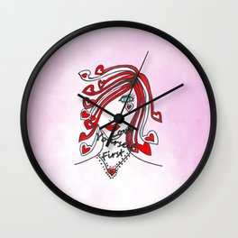 Love Yourself First Pink - Typography Wall Clock