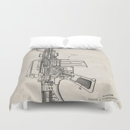 M16 Rifle Patent - Military Rifle Art - Antique Duvet Cover