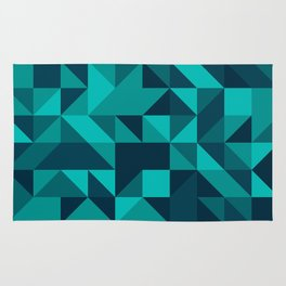 The bottom of the ocean - Random triangle pattern in shades of blue and turquoise  Rug