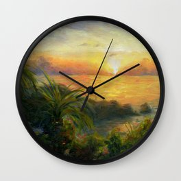 Jamaican Island Sunset   Impressionist Landscape Wall Clock