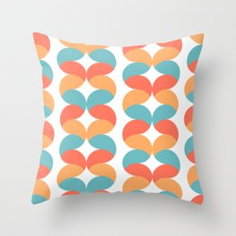 Colorful abstract round geometric rows Throw Pillow