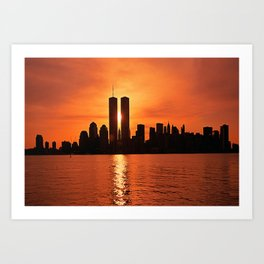 Twin Towers Summer Sky Art Print