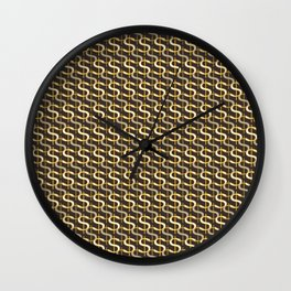 Grey Money Pattern Wall Clock