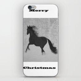 Horse in snow Black & white iPhone Skin