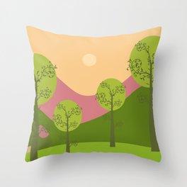 Kawai landscape breaking Dawn Throw Pillow