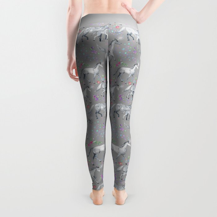 Unicorns and Stars on Soft Grey Leggings