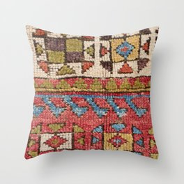 Octagon Stars // 19th Century Colorful Classic 1970s Brown Green Orange Pallete Ornate Accent Patter Throw Pillow