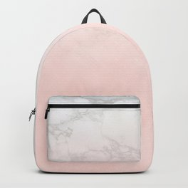 Pastel Pink and Marble Watercolor Gradient Backpack
