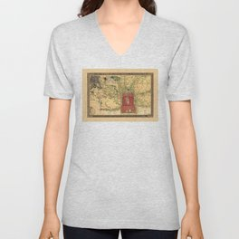 Topographic map of the city of Beijing, China (1848) Unisex V-Neck